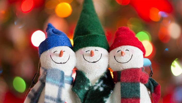 happy snowmen celebrate