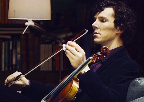 intelligent man with a violin
